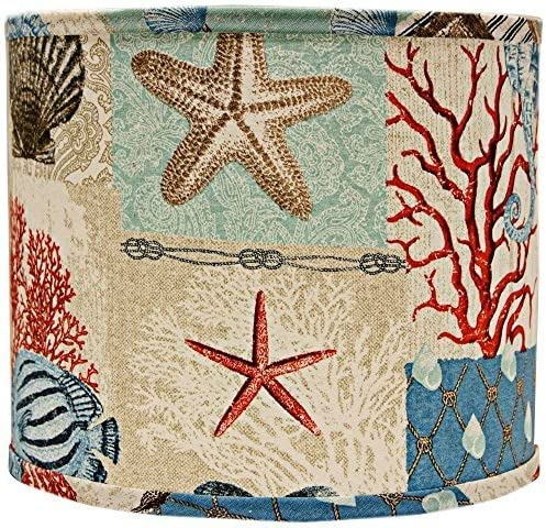AHS Lighting SD1468-16WD Mix N Match Drum Lamp Shade with Washer Fitter, 16-Inches, Nautical Patchwork