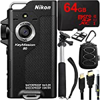 Nikon KeyMission 80 Full HD Action Camera with Built-In Wi-Fi + 64GB MicroSD Memory Card + Sport Case + 43 Selfie Stick & More