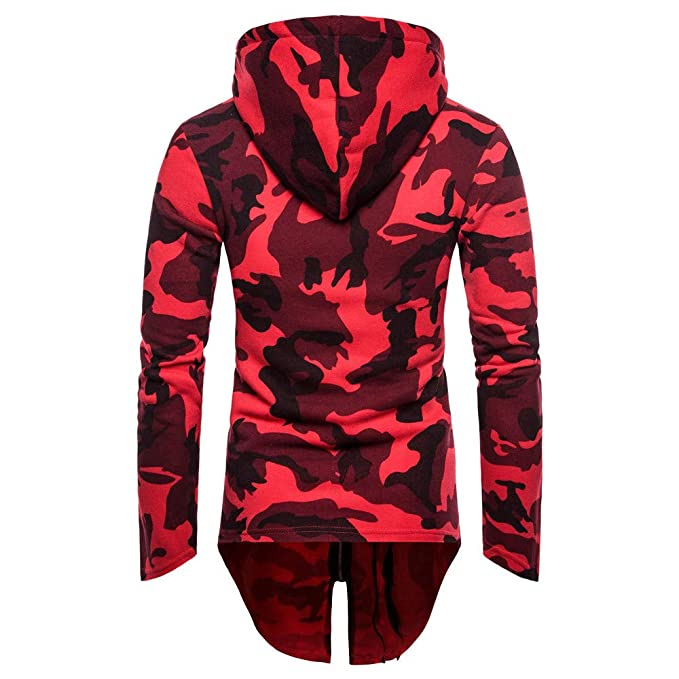 Sunhusing Mens Casual Camouflage Zipper Hooded Long Cardigan Coat Outwear Jacket at Amazon Mens Clothing store: