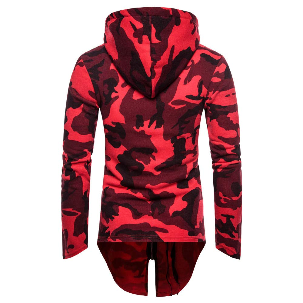 Rain Coats for Men Big and Tall.Mens Hooded Camouflage Zipper Coat Jacket Cardigan Long Sleeve Outwear Blouse