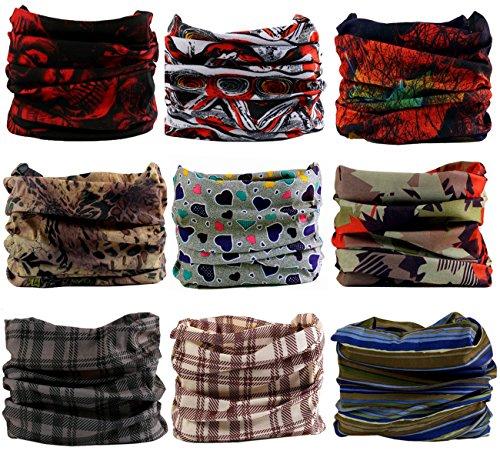KINGREE 9PCS Headwear, Womens and Mens Headband, Guys Sweatband & Sports Head Tie for ATV/UTV Riding, Outdoor Magic Scarf, Bandanna Headwrap, (Grace)