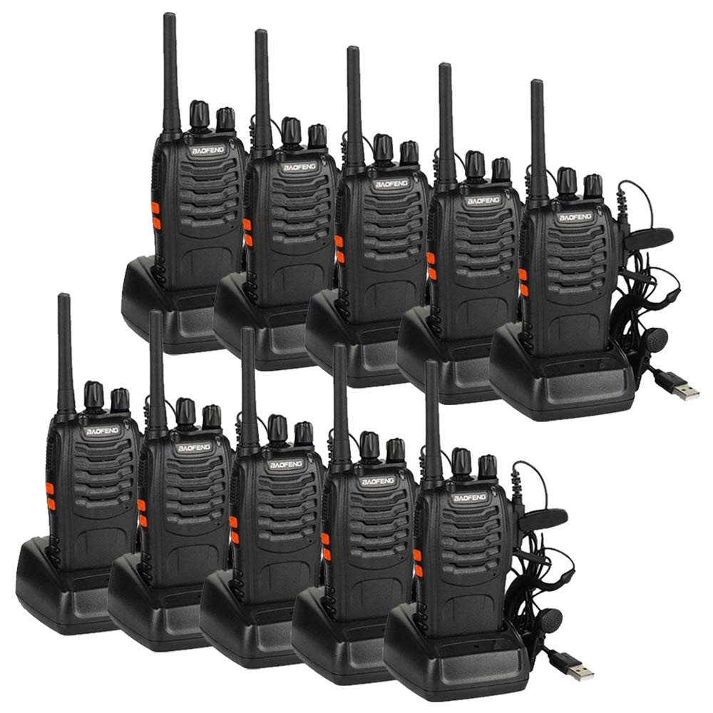 Walkie Talkie 8pcs 1500mah Bater/ía Recargables USB 16 Canales con el Auricular Incorporado Antorcha de LED (Negro)