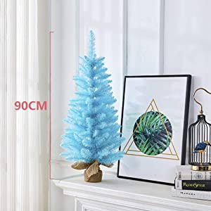 LIUSHI Small Christmas Tree, Blue Christmas Trees Artificial Realistic Decoration Tree with Stand for Home Office Holiday Decoration-d 3ft-90cm