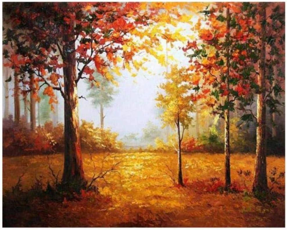 Diy pintura digital pintura digital amanecer bosque diy pintura por números abstracto otoño árbol pintura al óleo sobre lienzo cuadros decoracion acrílico arte de la pared sin marco