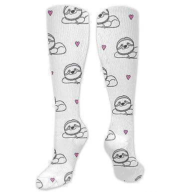 e94cfc1e105 Amazon.com  Hand Drawn Sloths Pattern Knee High Socks