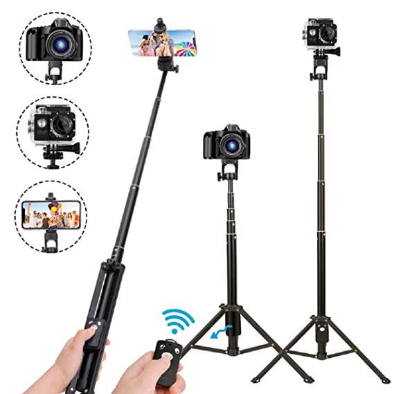 best service 573e4 e3cee Selfie Stick Tripod,54 Inch Extendable Camera Tripod for Cellphone,Wireless  Remote for Apple & Android Devices,Compatible with iPhone 6 7 8 X ...