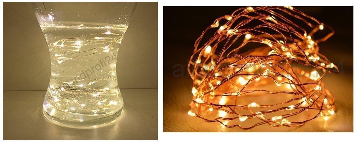 20er LED Lichterkette Lichterkette Lämpchen warmweiß Batterie ...