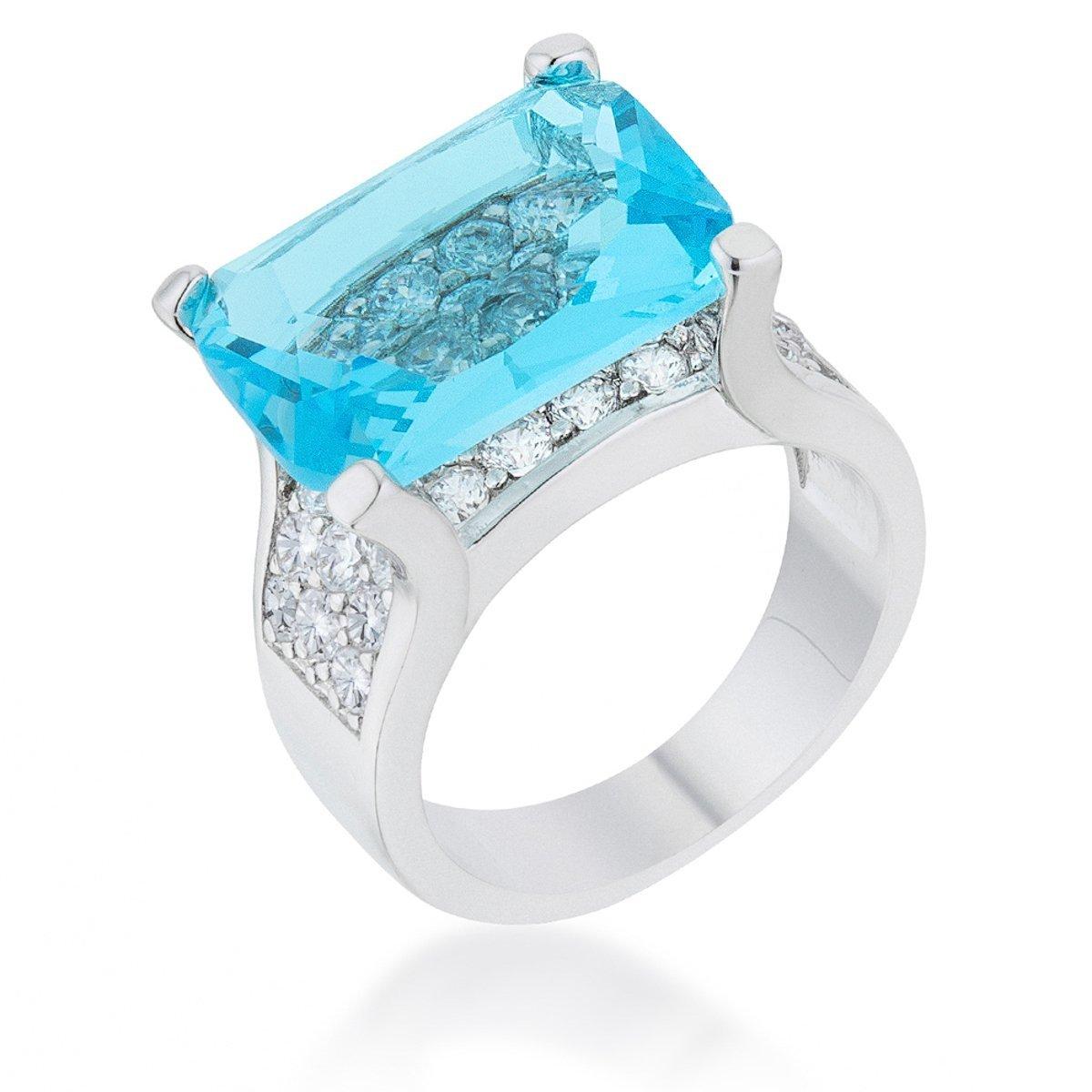 Covet 15.4ct Aqua CZ Rhodium Plated Cocktail Ring