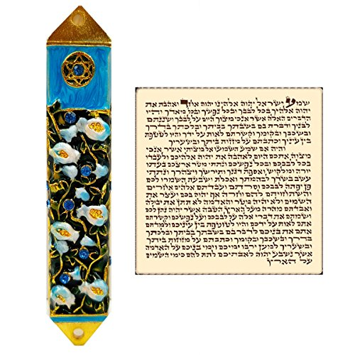 (Talisman4U Blue Enamel Mezuzah Case with Scroll for Door Star of David & Pomegranates Israel Judaica Gift 8 cm)