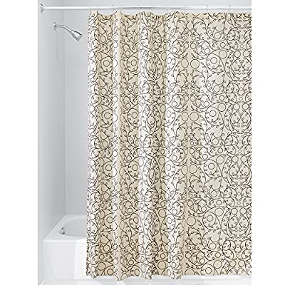 "iDesign Twigz Fabric Bathroom Shower Curtain - 72"" x 72"", Vanilla/Bronze - Fade resistant; retains color wash after wash Liven up your bathroom with color and designs Reinforced buttonholes - shower-curtains, bathroom-linens, bathroom - 617LMnGCfvL. SS400  -"