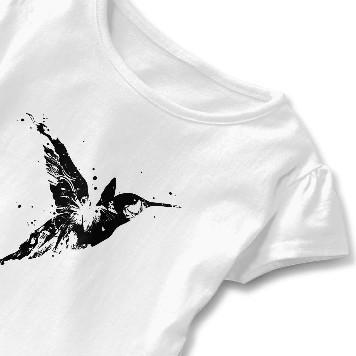 Ink Hummingbird Toddler Girls T Shirt Kids Cotton Short Sleeve Ruffle Tee