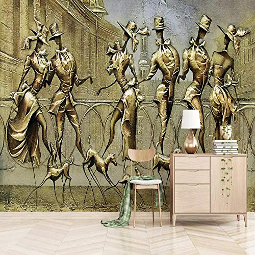 - Custom 3D Wallpaper Stereo Relief Golden Figure Sculpture Murals Living Room Tv Sofa Background Wall Painting Home Decor Zffmss-250cmx175cm