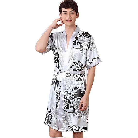 AXIANQI Pareja De Hombres Y Mujeres En Primavera Y Verano, Pijamas De Satén, Ropa De Baño con Bata Estampada con Estilo Noble Sexy.