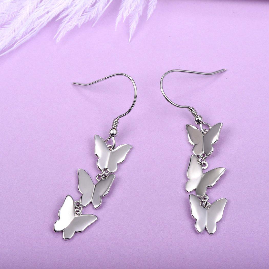 Silver Dangling Earrings 925 Sterling Silver Butterfly Drop Earrings Fish-hook Backfinding by SILVERCUTE (Image #3)