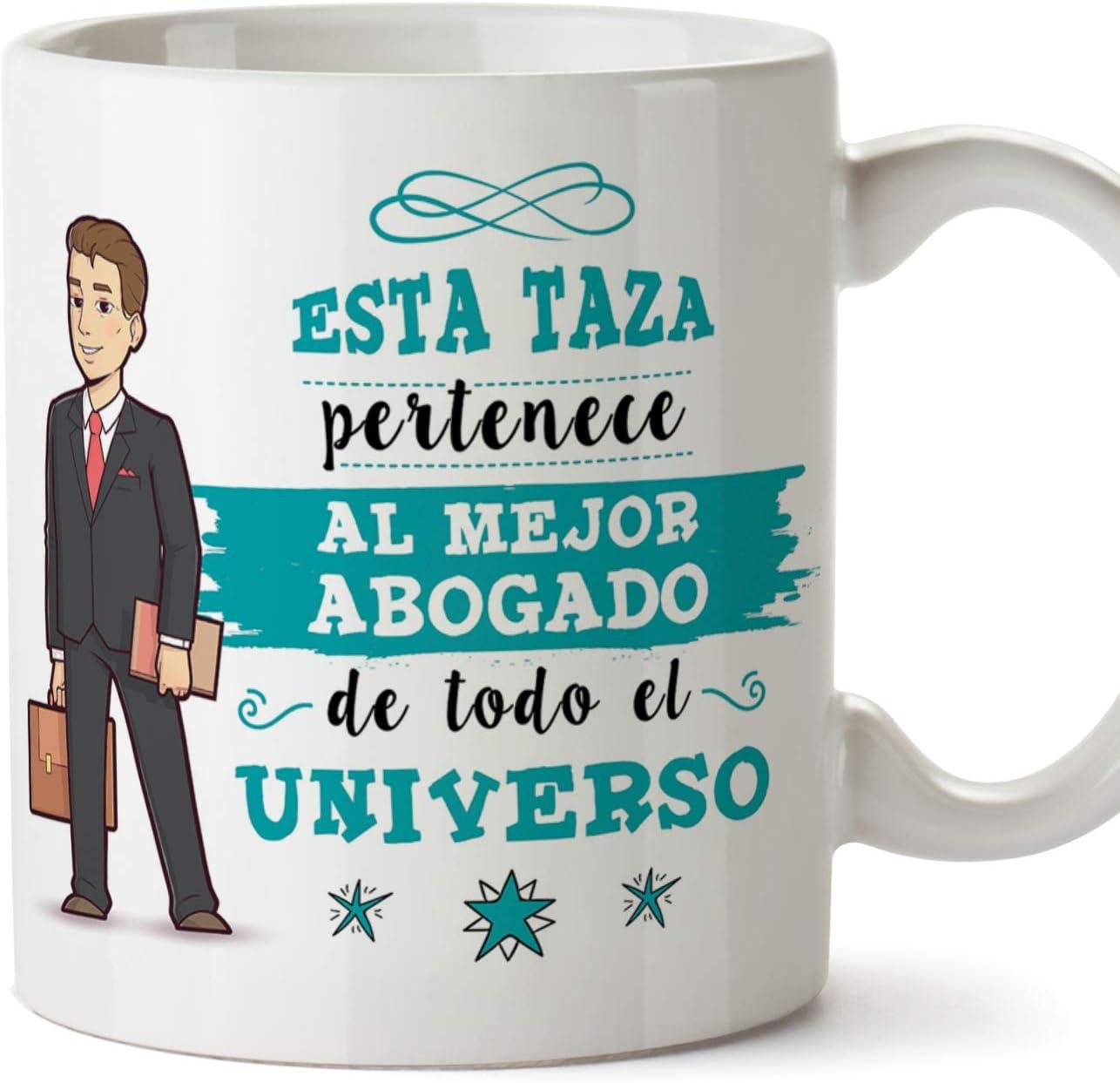 MUGFFINS Abogado Tazas Originales de café y Desayuno para Regalar a Trabajadores Profesionales - Esta Taza Pertenece al Mejor Abogado del Universo -: Amazon.es: Hogar