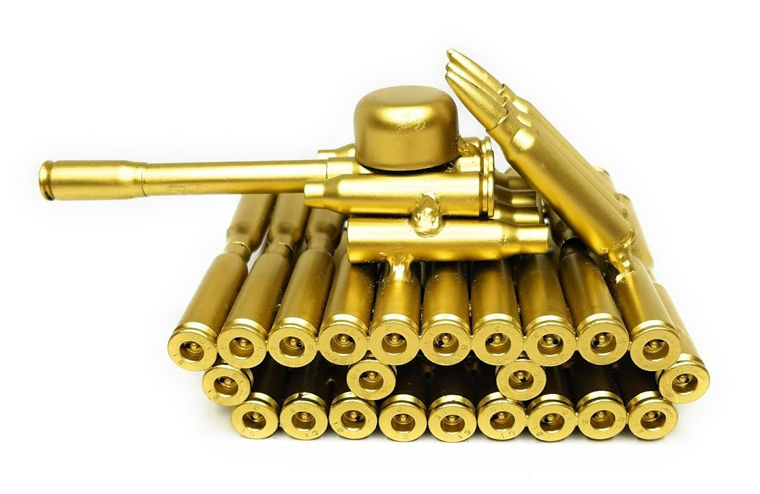 Creative Gold Bullet Shell Metal Plane-Unique New Model Bullet Shell Casing - Great Decorative Piece Artillery Artwork Metal Model- Home Living/Study Room Decorations Gift (Army Tank)
