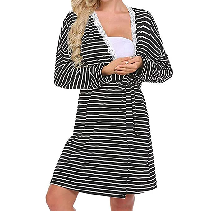 Sixcup Women s Maternity Gown Robe Dress Nursing Nightdress for  Breastfeeding Jersey Striped Dressing Down Nursing Cardigan Nightgown  Sleepwear Nightie ... 34c38b08e