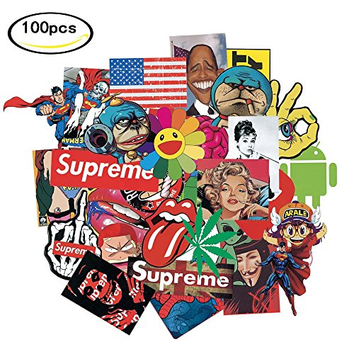 Laptop Car Motorcycle Bicycle Skateboard Luggage Graffiti Decals Bumper DIV Decoration 100 PCS Stickers For Kids Girls Teens Youths(Not - Div Decal