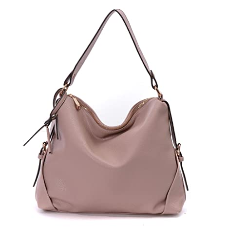 ddc32f3946 Amazon.com  DDDH Women s PU Leather Purses 3 Ways Hobo Handbag Shoulder Tote  Top Handle Handbag with Removable Straps(Pink)  Computers   Accessories