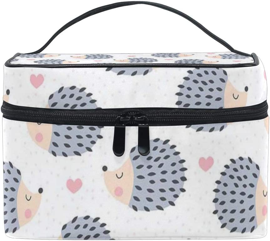 ALLMILL Cosmetic Travel Bag Seamless Cute Hedgehog Animal Pattern Vector Portable Printing Toiletry Case Makeup Bag For Girls Womens