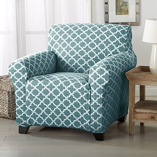 Home Fashion Designs Form Fit, Slip Resistant, Stylish Furniture Cover/Protector Featuring Lightweight Stretch Twill Fabric. Brenna Collection Strapless Slipcover. By (Chair, Smoke Blue) (Chair Shield)
