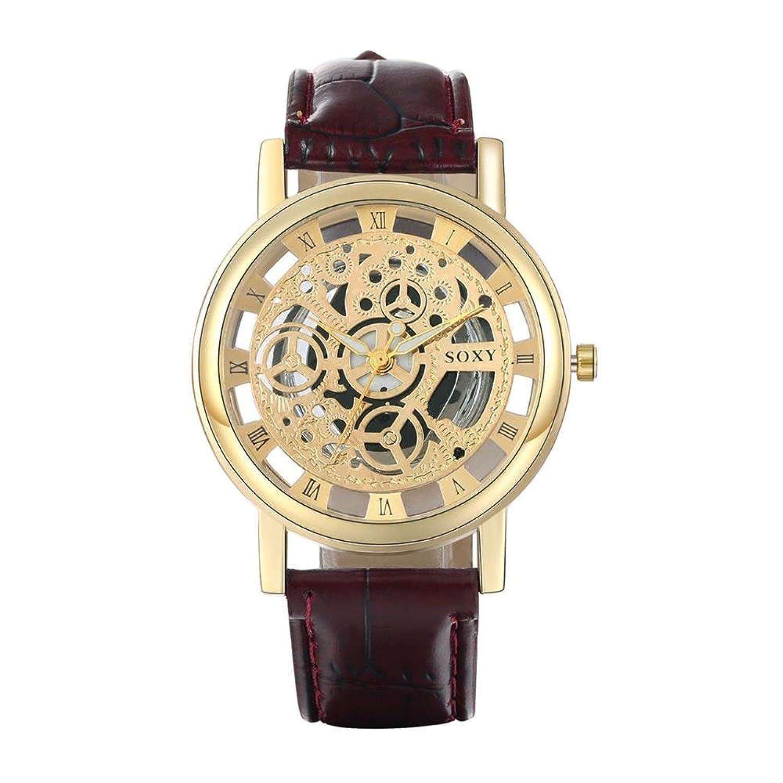 jiayihomeメンズPUレザーのストラップクオーツMovement withブラックダイヤル腕時計wh0019d-j B01G16P5WY