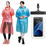 Rain Ponchos 5 Pack & Cellphone Waterproof Case,Assorted Colors, Hood and Full Sleeves,One size fits all,Waterproof case for iPhone 6S 6,Galaxy S7 Edge,S7,Up to 6 inches