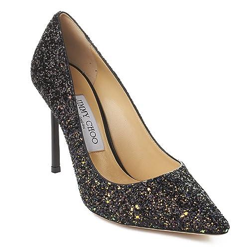 9b8cacd3a Jimmy Choo Women s  Romy 100  Pointed Toe Glitter Leather High Heel Pump  Rainbow  Amazon.ca  Shoes   Handbags