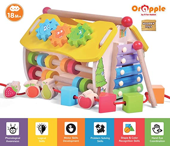 Orapple Toys by R for Rabbit - 6 in 1 Multipurpose Skill House Toys for Babies/Kids Learning or Educational Toys for Boys & Girls of 1.5,2,3,4 Years Old Age (Multicolor)