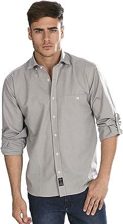 Camisa Oxford Manga Larga de Hombre en Gris Claro: Amazon.es: Ropa y accesorios