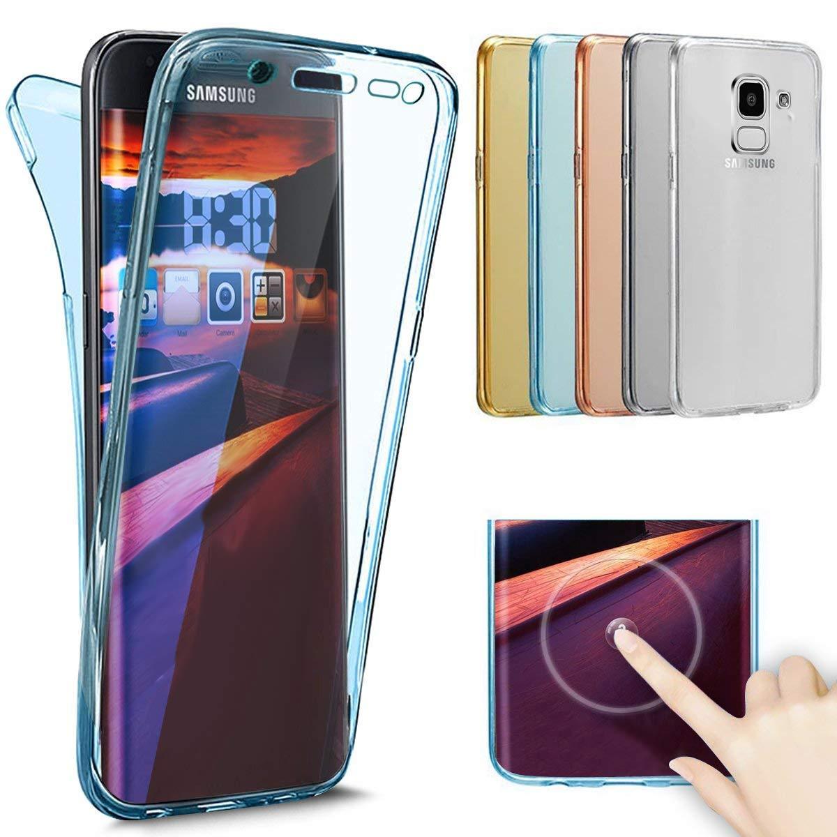 QPOLLY Compatible avec Samsung Galaxy J6 2018 Coque Transparent Silicone Double Face Gel Housse Int/égral 360 Degres Protection Avant Arri/ère Couverture Ultra Mince Souple Etui TPU Bumper,Transparent