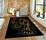 "Black Panther Jaguar Area Rug African Animal Carpet (5' 3"" X 7' 5"") For Sale"
