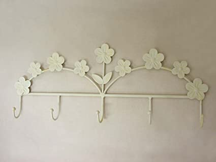 PERCHA COLGADOR PERCHERO FORJA PARED QUINTUPLE MARGARITA CREMA