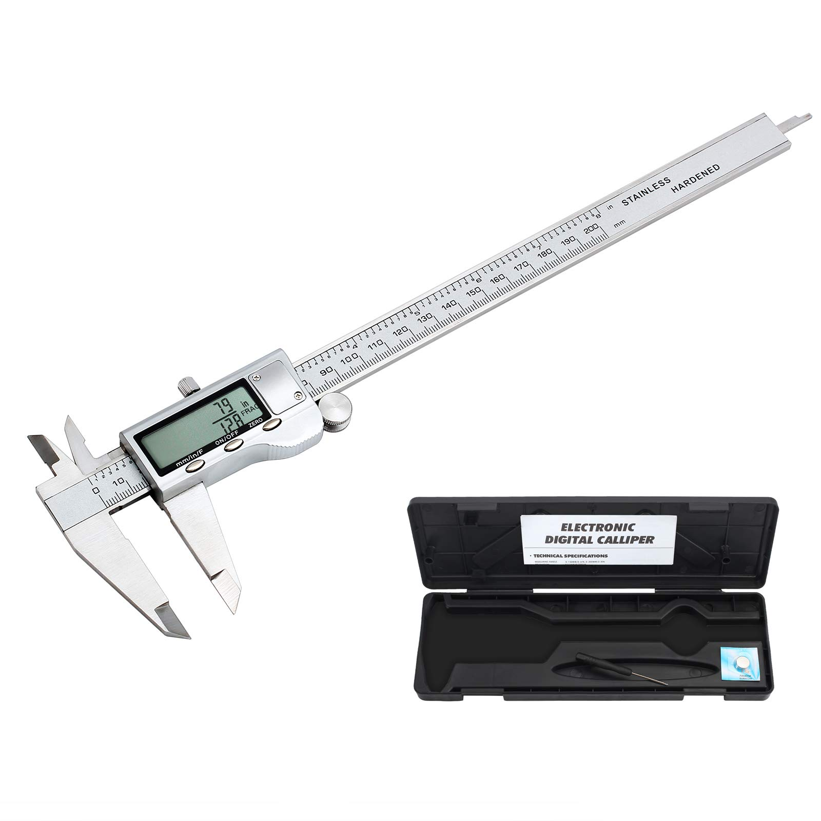 PROSTER Digital Vernier Caliper 200 mm/ 8 inch Stainless Steel Electronic Industrial Caliper Fractions/Inch/Metric Conversion Measuring Tool for Length Width Depth Inner Diameter Outer Diameter