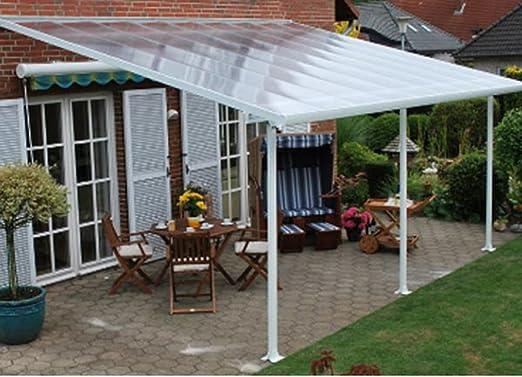 Toldo de terraza aluminio, color blanco, policarbonato, 4 x 4 m ...
