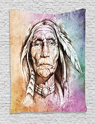 asddcdfdd Native American Decor Tapestry, Portrait Of Bohemian Chief With Ethnic Feather Band Watercolor Style Image Art Print, Bedroom Living Room Dorm Decor, 40 W x 60 L Inches, Multi - Chief Portrait