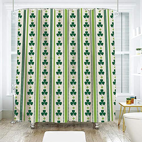 scocici Bathroom Curtain Separation Door Curtain Shower Curtain,Floral,Clovers Vertical Lines and Dots Irish Traditional Floral Pattern,Lime Green Dark Green White,94.4