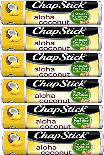 Chapstick Ultimate Collection Pack of 6 Gift Set Variations Includes Chap Stick Aloha Coconut ,Candy Cane, Cake Batter,Strawberry, Moisturizer Original,Pumpkin Pie (Pack of 6 Aloha Coconut)