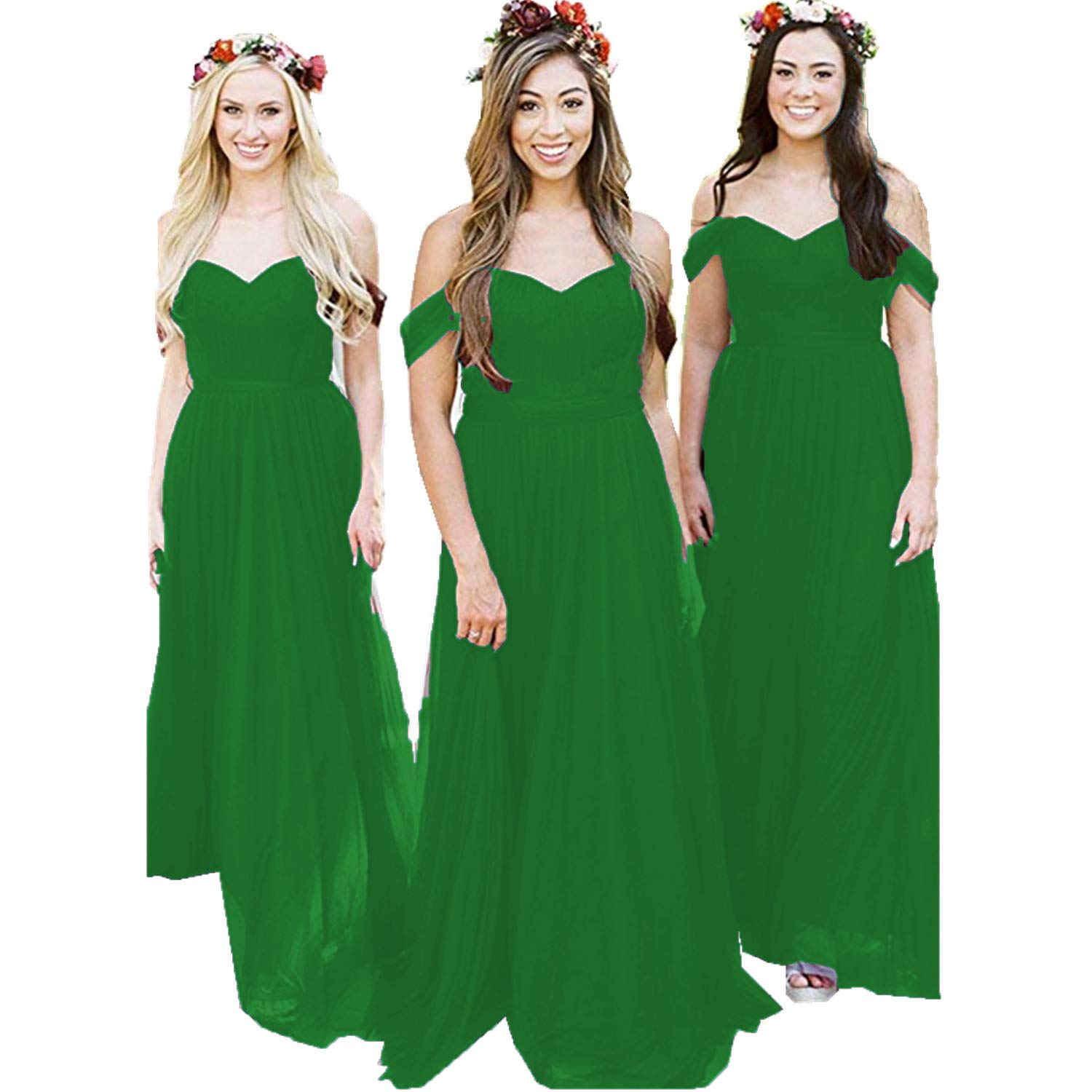 Green Ruiyuhong Women's Off The Shoulder Bridesmaid Dresses Long Tulle Wedding Party Gown