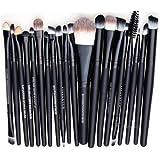 Leisial Professional 20 pièces Maquillage Set de brosse Maquillage Kit de Toilette Set de Brosse de Maquillage Marque de Laine Pencel Maleta de Maquiagem(Noir)