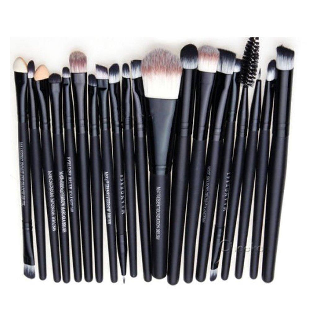 Scrox 20 piezas Cepillo de sombra de ojos Cepillo de cejas Cepillo de ojos Pincel Conjunto de pinceles de maquillaje(blanco + negro)