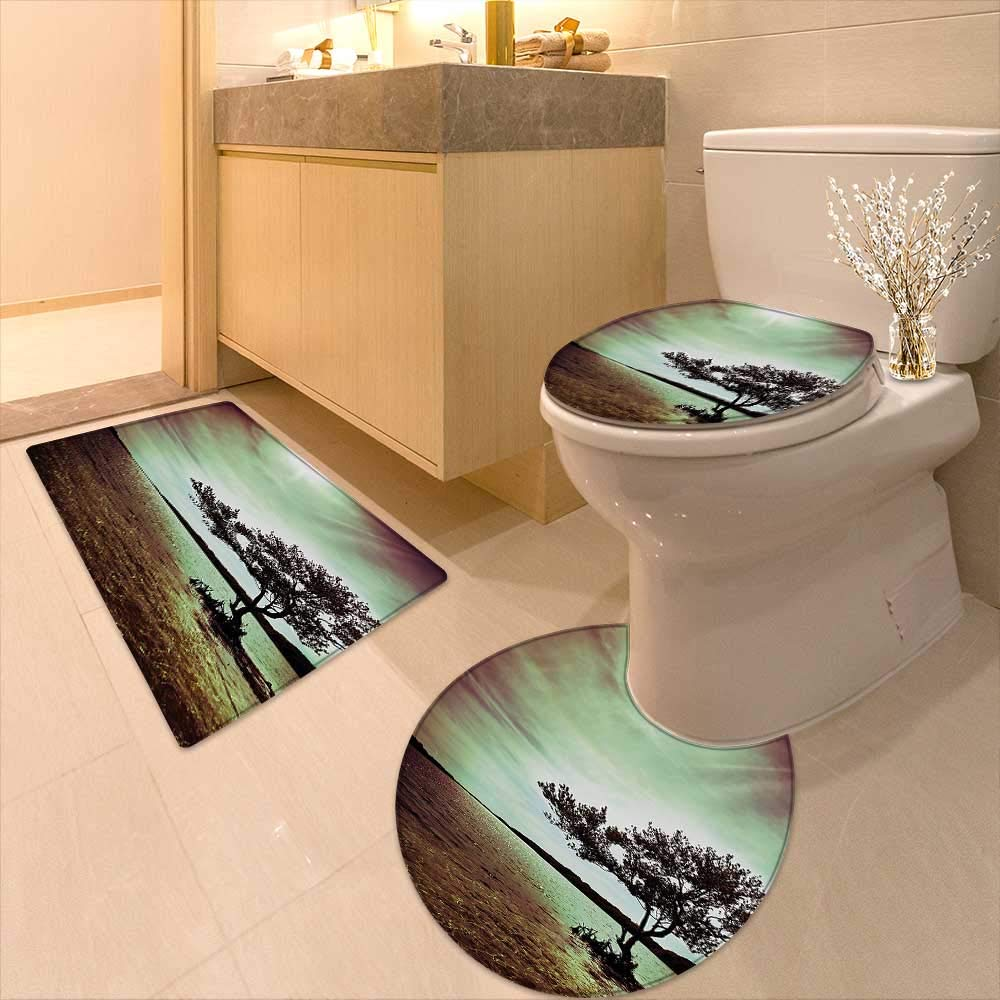 3 Piece Toilet Cover Set Scene Accessories College List One a Kind Machine Washable Silky Satin in 3D Digital Printing Rug Set