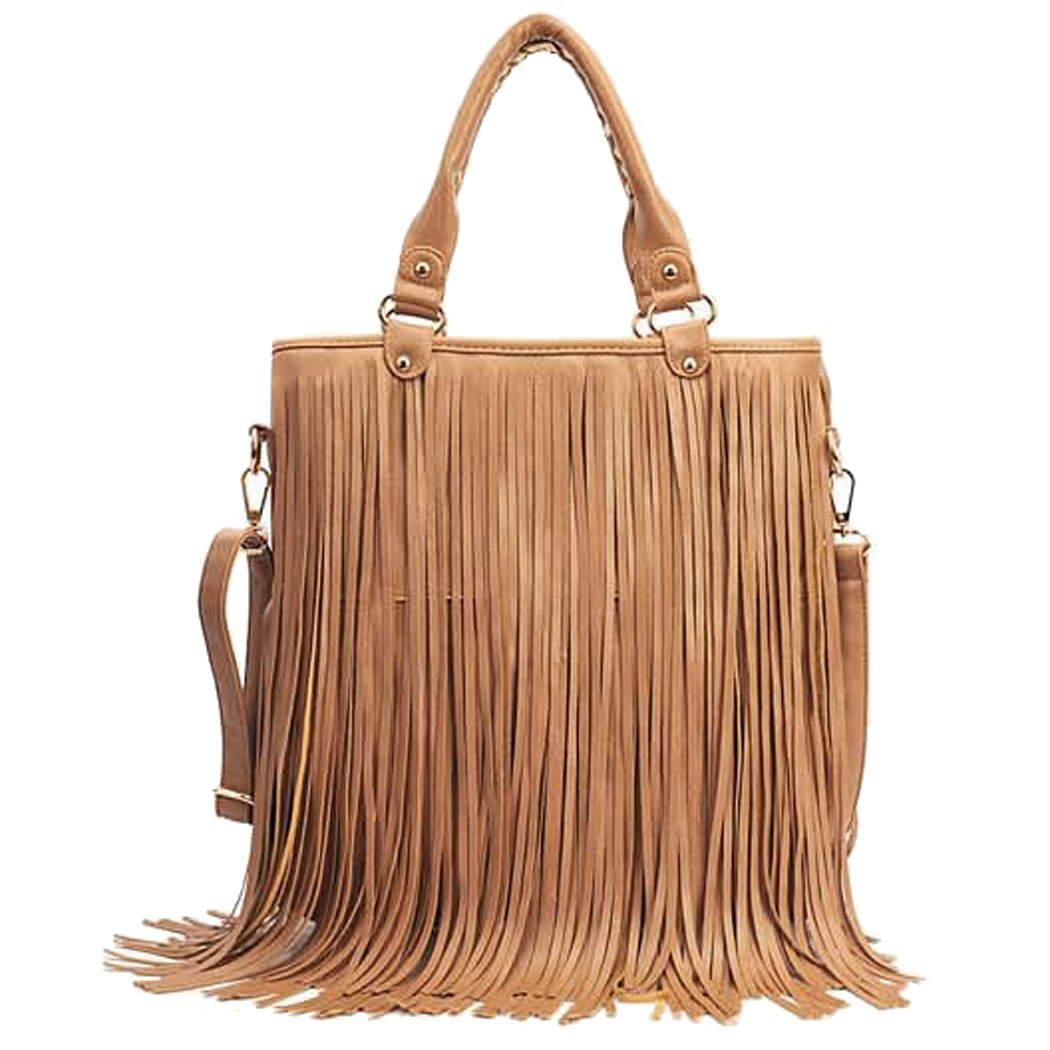 C.A.Z Womens Large Waterproof PU Leather Fringe Tassel Shoulder Bag Casual Hobo Handbag Crossbody Bag