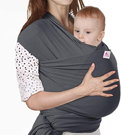 Wenscha Baby Wrap Carrier Adjustable Breastfeeding Cover Cotton Sling Baby Carrier for Infants up to 35 lbs//16kg Dark Gray Soft and Comfortable