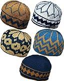 Al-Ameen Set 5 Muslim Skull Cap Beanie AMN064 Islam Crochet Takke Kufi Hat