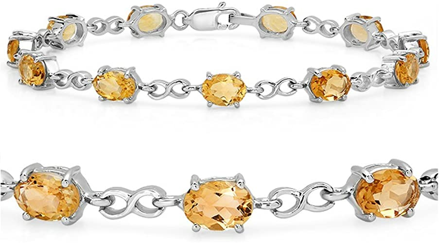 Ladies and Womens 925 Sterling Silver 4mm Citrine and Diamond Bracelet 7/""