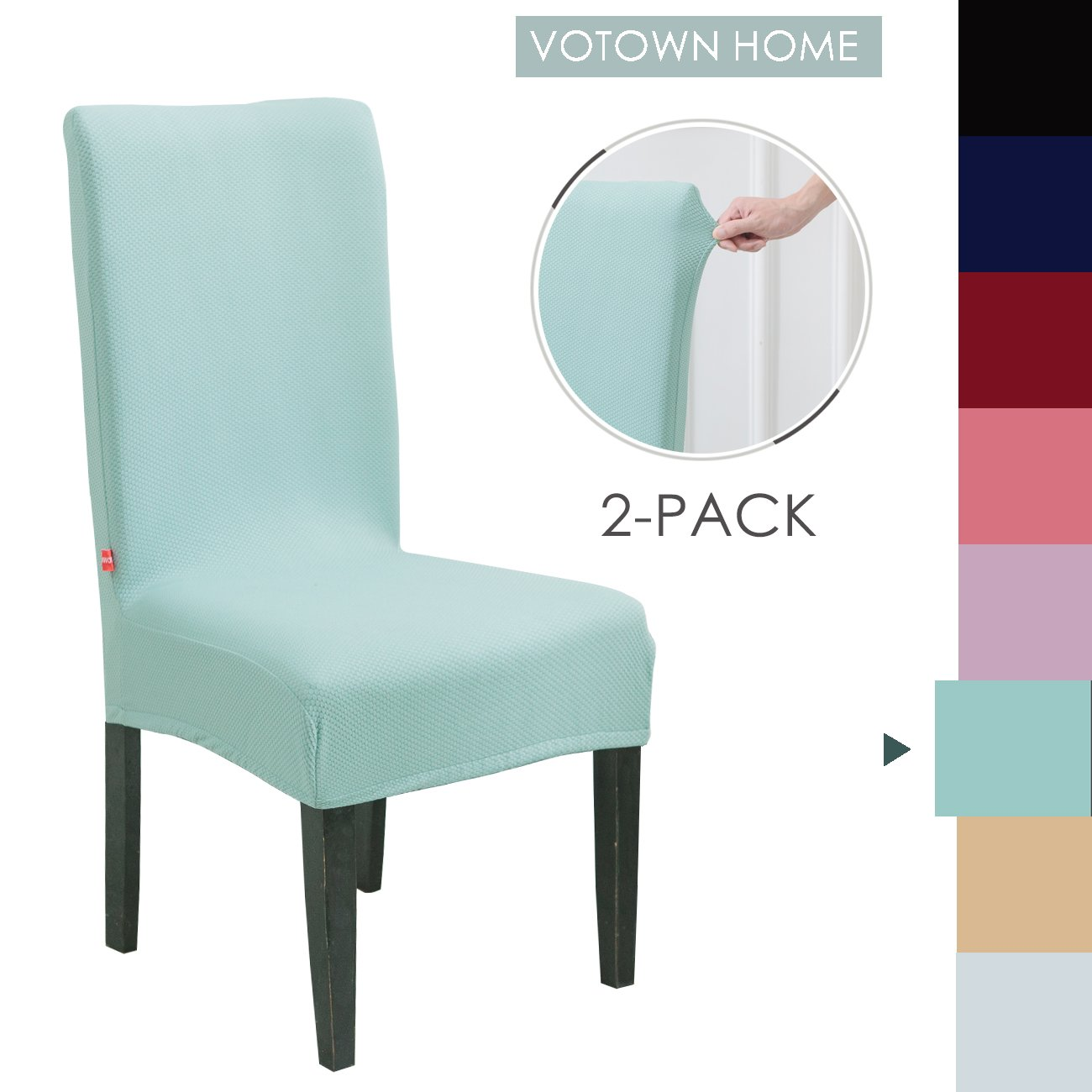 Votown Home Dining Room Chair Slipcovers Spandex Stretch fabric Home Decor Set of 2, Green