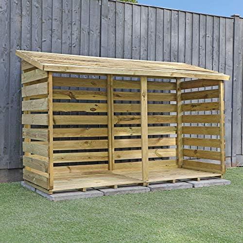 Almacén de leña con superposición de madera doble, con tejadillo ...