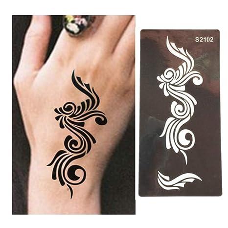 Amazon Com Autumn Water 2pcs Flower Tattoo Templates Hands Feet