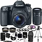 Canon EOS 70D DSLR Camera with 18-55mm STM f/3.5-5.6 & 55-250mm f/4-5.6 IS II Lenses. Includes: Wide Angle & Telephoto Lenses, 3 Piece Filter Kit (UV-CPL-FLD), 32GB Memory Card, 2 High Capacity Replacement Batteries, Deluxe Backpack, Tripod & More